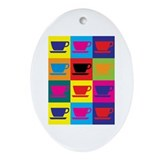 Coffee Pop Art Oval Ornament