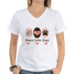 Peace Love Dogs Women's V-Neck T-Shirt