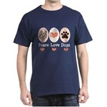 Peace Love Dogs Dark T-Shirt