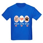 Peace Love Dogs Kids Dark T-Shirt