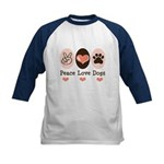 Peace Love Dogs Kids Baseball Jersey