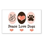 Peace Love Dogs Rectangle Sticker