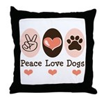 Peace Love Dogs Throw Pillow