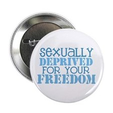 "Sexually Deprived - blue 2.25"" Button"