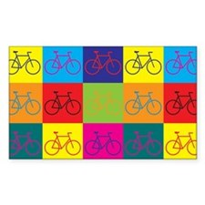 Bicycling Pop Art Rectangle Decal