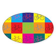 Bicycling Pop Art Oval Sticker (50 pk)