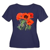 Red Poppies Women's Plus Size Scoop Neck Dark T-Sh