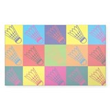 Badminton Pop Art Rectangle Sticker 50 pk)