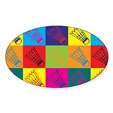 Badminton Pop Art Oval Decal