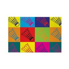 Badminton Pop Art Rectangle Magnet (10 pack)