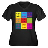 Backgammon Pop Art Women's Plus Size V-Neck Dark T