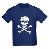 Skull &amp;amp; Crossbones (White) Kids Navy T-Shirt