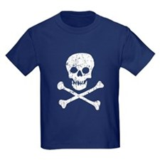 Skull & Crossbones (White) Kids Navy T-Shirt