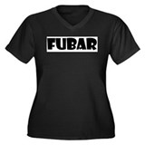 FUBAR Women's Plus Size V-Neck Dark T-Shirt