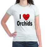 I Love Orchids (Front) Jr. Ringer T-Shirt
