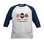 Peace Love Camping Kids Baseball Jersey