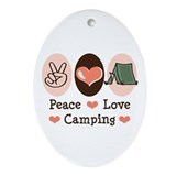 Peace Love Camping Oval Ornament