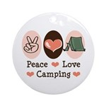 Peace Love Camping Ornament (Round)