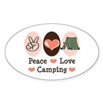 Peace Love Camping Oval Sticker