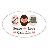 Peace Love Camping Oval Sticker (50 pk)
