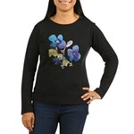 Watercolor Flowers Women's Long Sleeve Dark T-Shir