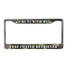 Hunting Flat Coated Retriever License Plate Frame