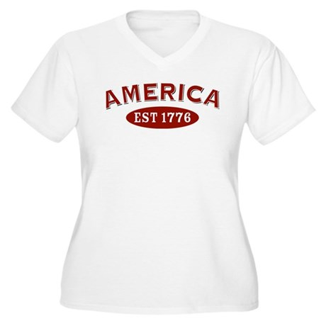 America Est 1776 Women's Plus Size V-Neck T-Shirt