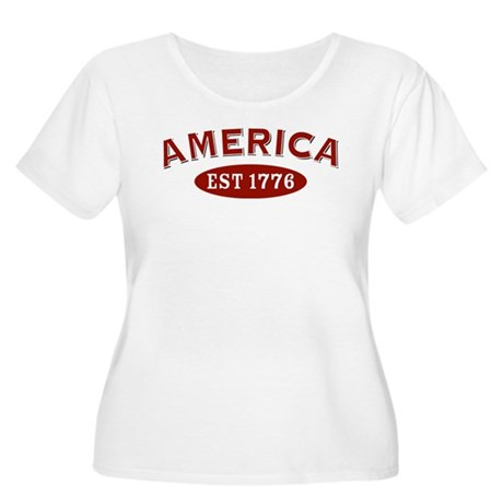 America Est 1776 Women's Plus Size Scoop Neck T-Sh