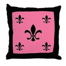 Deep Pink Fleur de Lis Throw Pillow