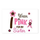 I Wear Pink For My Sister 12 Postcards (Package of