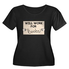 WILL WORK FOR BOOBS Women's Plus Size Scoop Neck D