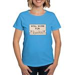 WILL WORK FOR BOOBS Women's Dark T-Shirt