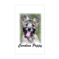 Carolina Poppy Cairn Pup Rectangle Decal