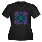 Colorful Papercut Women's Plus Size V-Neck Dark T-