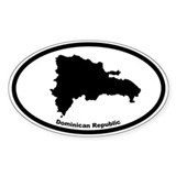 Dominican Republic Outline Oval Decal
