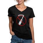 Douche Free Zone Women's V-Neck Dark T-Shirt