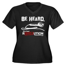 Be Heard Women's Plus Size V-Neck Dark T-Shirt