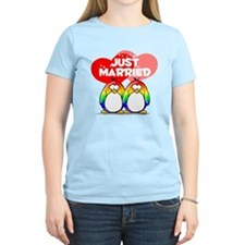 Just Married Rainbow Penguins T-Shirt
