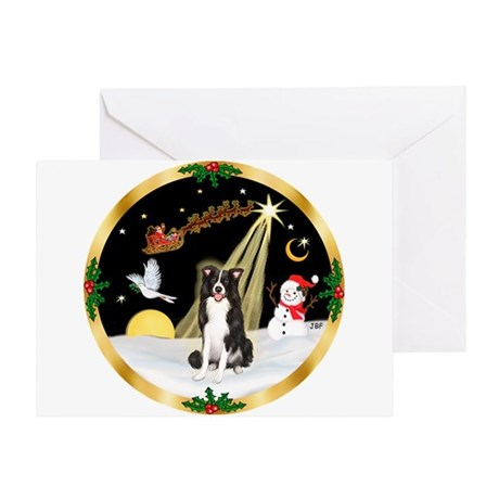 Night Flight/Border Collie Greeting Card