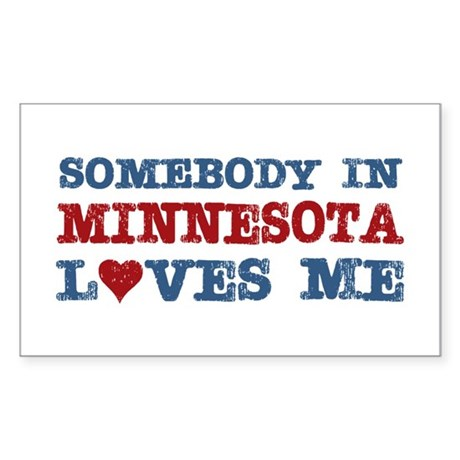 Somebody in Minnesota Loves Me Rectangle Sticker