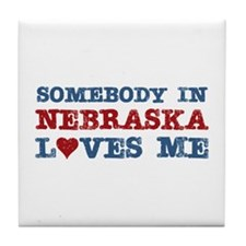 Somebody in Nebraska Loves Me Tile Coaster