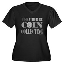 COIN COLLECTING Women's Plus Size V-Neck Dark T-Sh