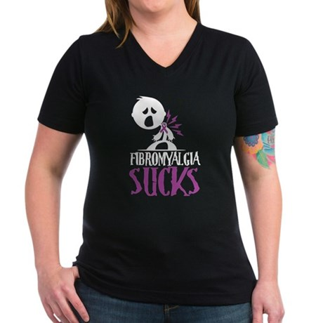 Fibromyalgia Sucks Women's V-Neck Dark T-Shirt