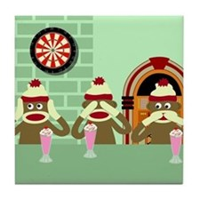 No Evil Sock Monkeys Ice Cream Tile Coaster