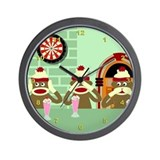 No Evil Sock Monkeys Ice Cream Wall Clock
