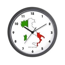 Italy Flag Map Wall Clock