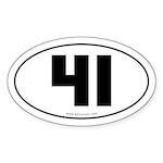 #41 Euro Bumper Oval Sticker -White