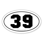 #39 Euro Bumper Oval Sticker -White