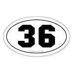 #36 Euro Bumper Oval Sticker -White