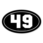 #49 Euro Bumper Oval Sticker -Black
